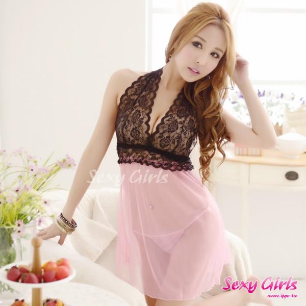 【Sexy Girls】情趣睡衣 性感掛脖露背透視睡裙二件式睡衣(CE-16008985-P)