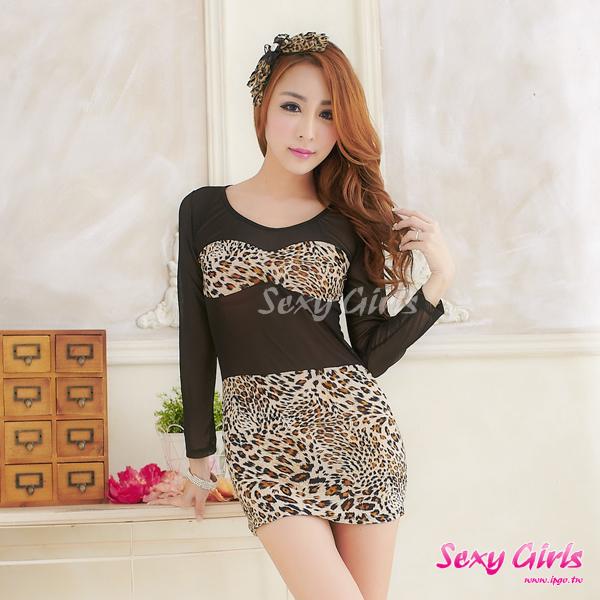 【Sexy Girls】情趣睡衣 性感豹紋長袖睡裙二件式睡衣(CA-17008134)