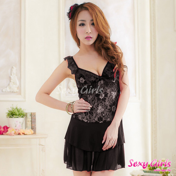 【Sexy Girls】情趣睡衣 性感深V魅黑二件式睡衣(CA-17008135)