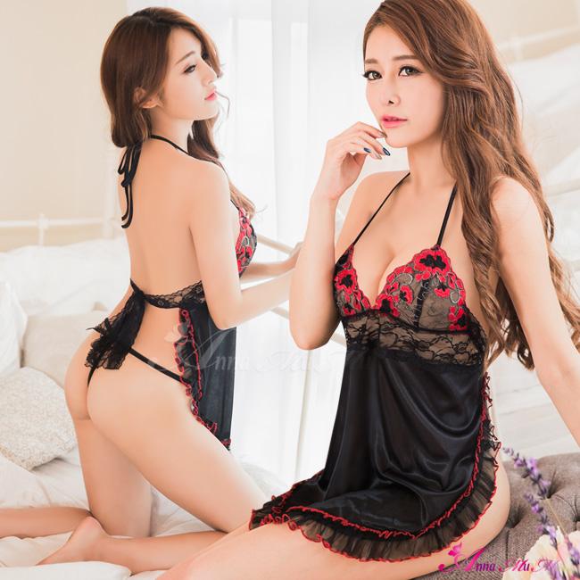 【Anna Mu】黑紅撞色刺繡肚兜款二件式睡衣(NA13030075)