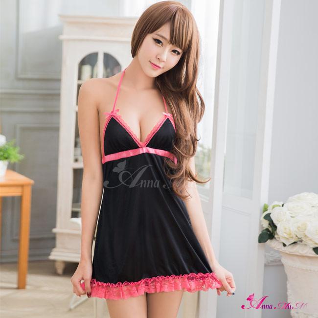 【Anna Mu】甜蜜撞色柔緞深V綁脖式睡衣(NA11020151)