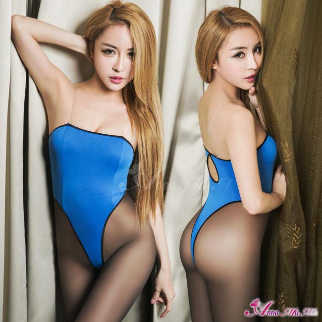 【Anna Mu】平口美背高衩死庫水二件式連身衣(NA16030060)