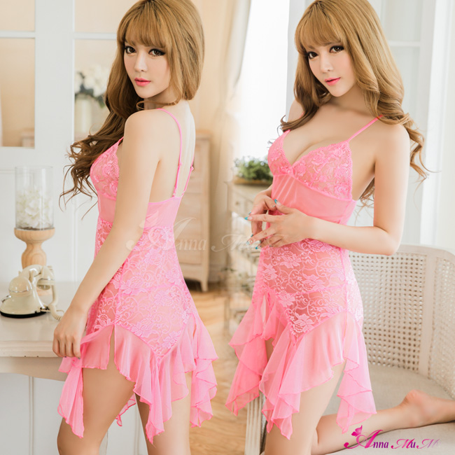 【Anna Mu】粉紅美人魚蕾絲柔紗二件式睡衣(NA16020080)