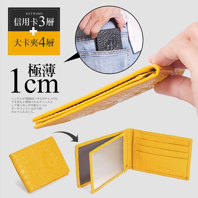 CHENSON 真皮專業形象 薄型駕照夾/名片夾 黃(W00009-L)