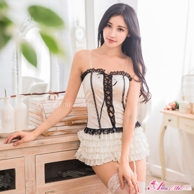 【Anna Mu】純白柔緞長馬甲吊襪帶五件組(NA11030086)