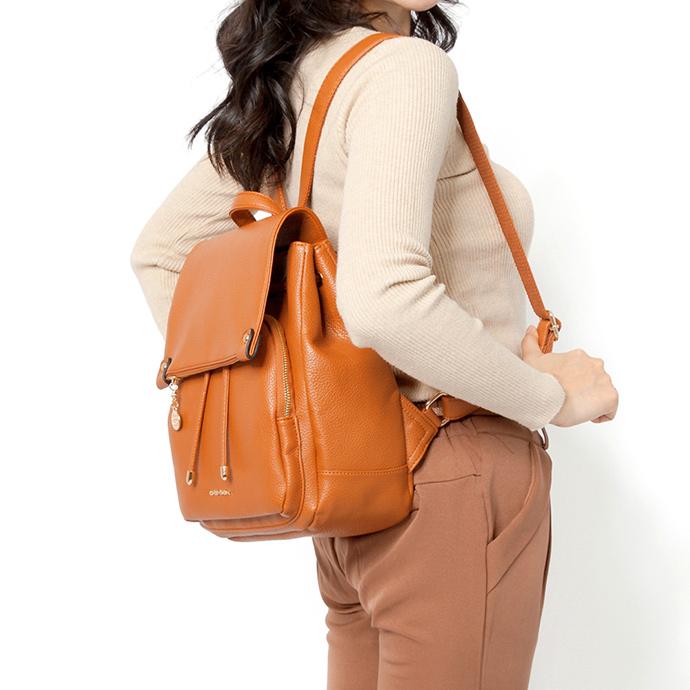 CHENSON知性女子 上班也能背的皮革後背包 焦糖(CG81174-C)