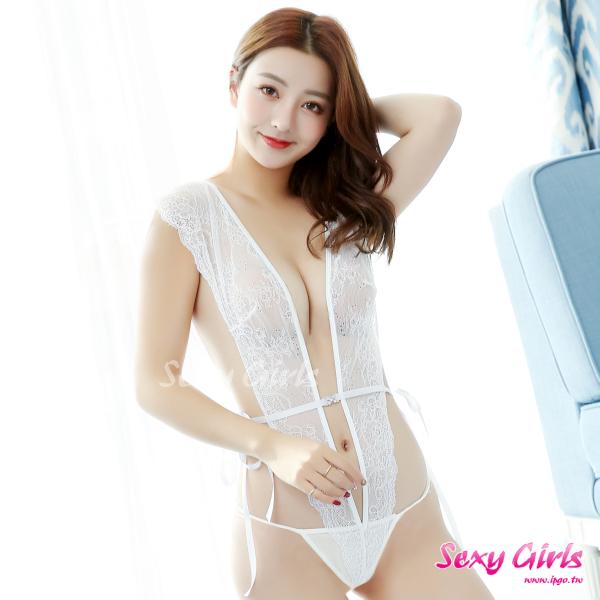 【Sexy Girls】情趣睡衣 性感魅惑大V連身二件式睡衣(CF-18007271-W)