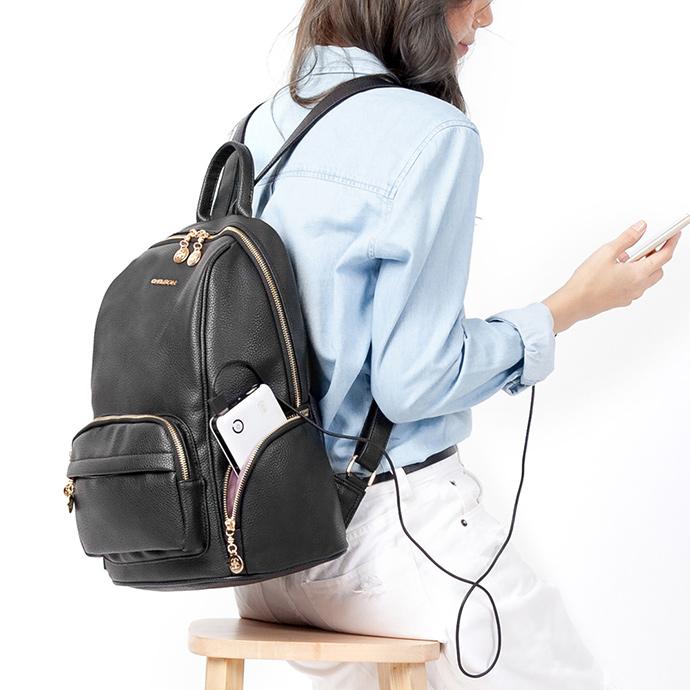 CHENSON 男孩風女子 上班也能背的皮革後背包 黑(CG31494-3)