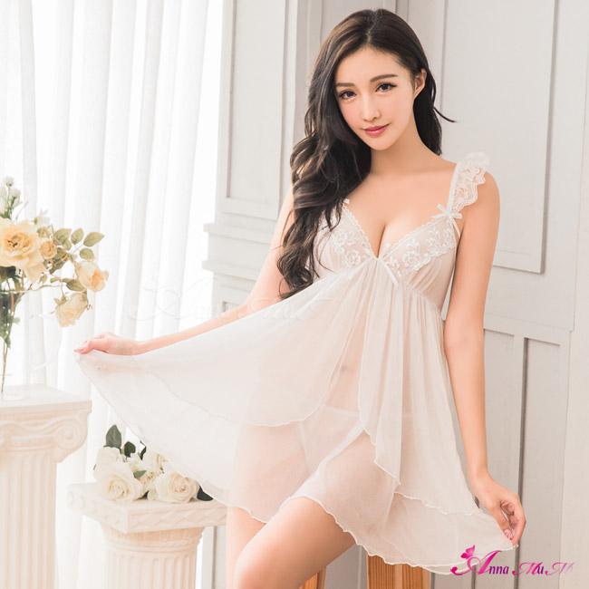 【Anna Mu】純白柔紗荷葉肩帶二件式性感睡衣(NA16020142)