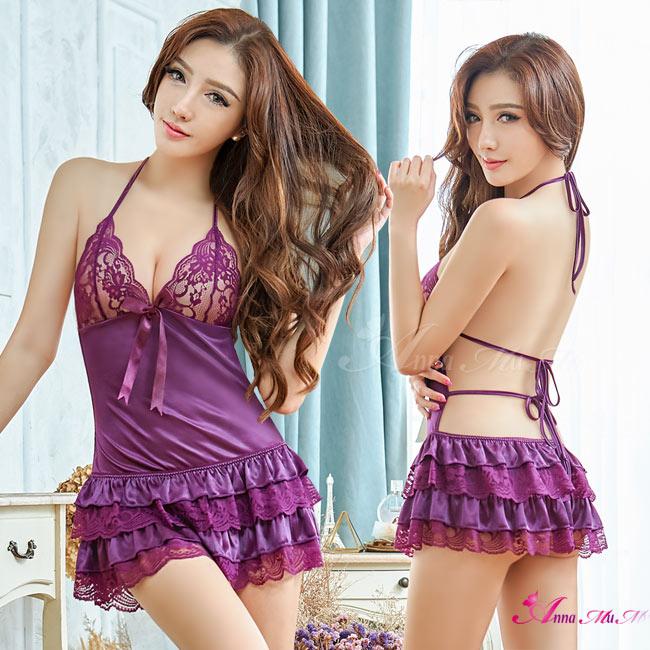 【Anna Mu】浪漫深紫蕾絲澎裙後綁帶二件式性感睡衣(NA08020103-1)