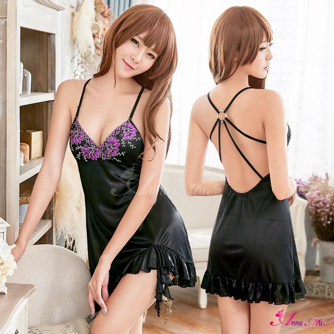 【Anna Mu】魅惑黑色柔緞深V美背二件式性感睡衣(NA16020155)