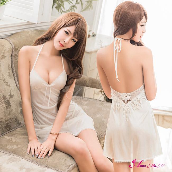 【Anna Mu】甜美純白柔緞綁脖美背性感睡衣(NA16020010)