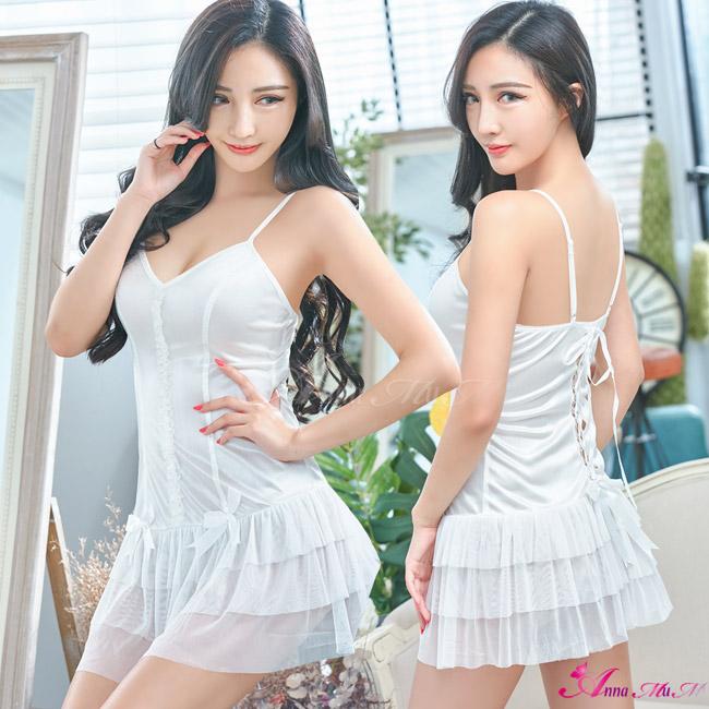 【Anna Mu】純白柔緞交叉綁帶美背二件式性感睡衣(NA09020249-1)