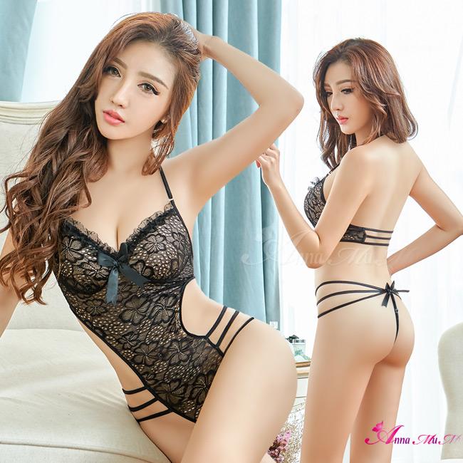 【Anna Mu】情趣睡衣 絕美黑色系蕾絲性感美背連身衣(NA13030133)