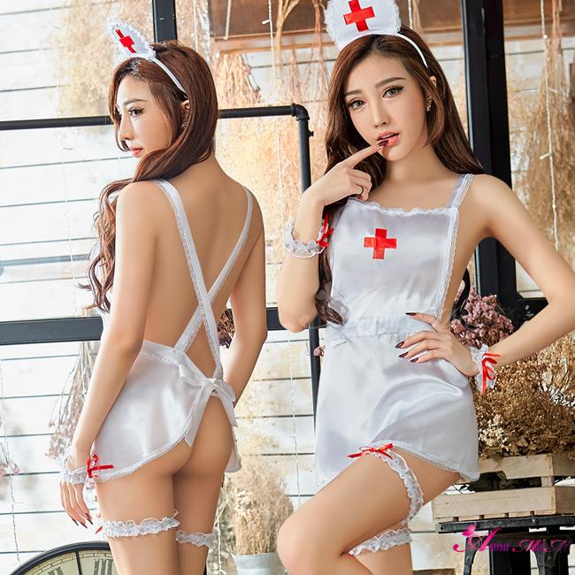 【Anna Mu】角色扮演 純白圍裙款護士角色扮演服七件組(NA10030095)