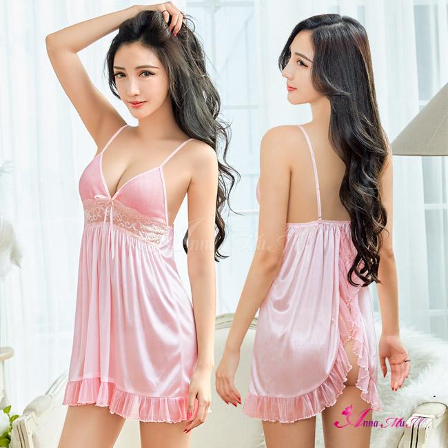 【Anna Mu】粉紅柔緞後開襟二件式性感睡衣(NA12030007)