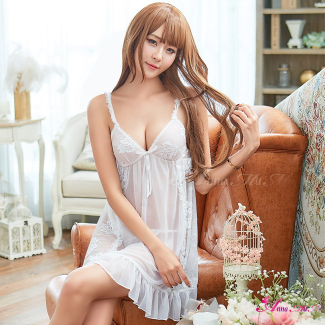 【Anna Mu】純白透視柔紗蕾絲肩帶二件式性感睡衣(NA16020016)