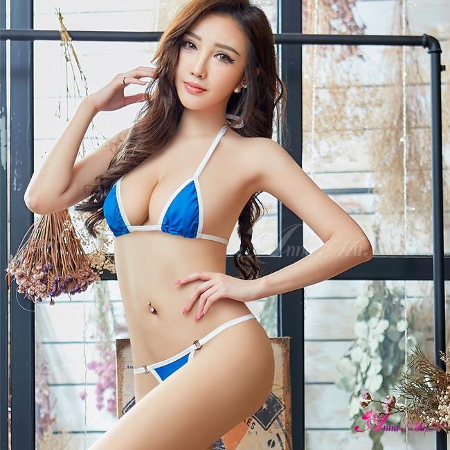 【Anna Mu】情趣內衣 藍白撞色綁脖式情趣比基尼二件組(NA12030223-1)