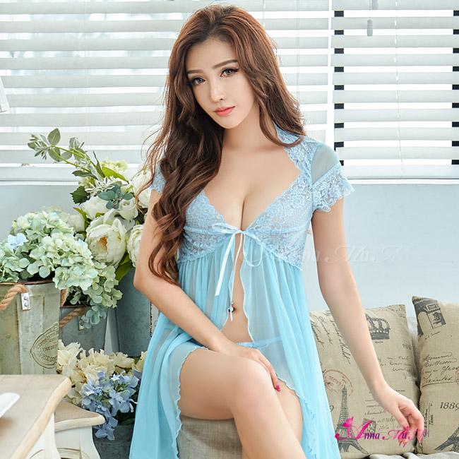 【Anna Mu】甜美水藍色開襟式網紗二件式性感睡衣(NA13020103)