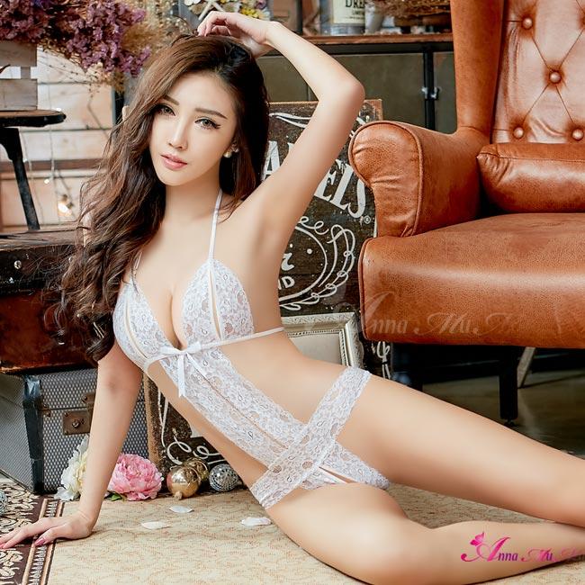 【Anna Mu】情趣睡衣 夢幻白色蕾絲性感連身衣(NA13030140)