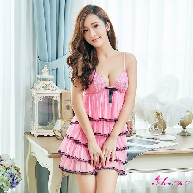 【Anna Mu】性感睡衣 甜美粉紅蛋糕裙柔紗二件式性感睡衣(NA13020100)