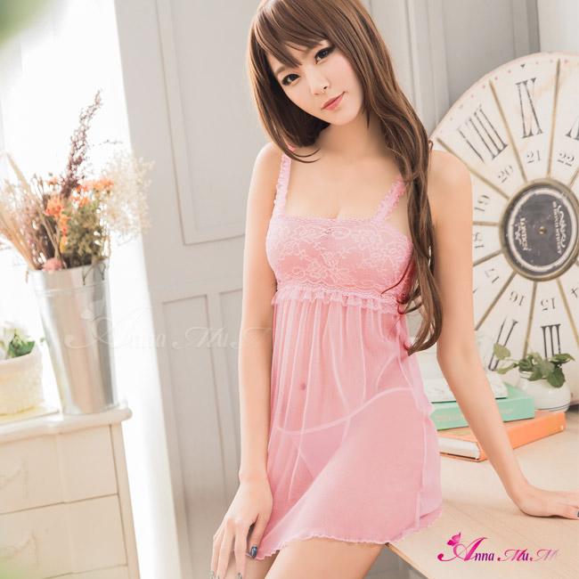 【Anna Mu】粉紅蕾絲柔紗造型肩帶二件式睡衣(NA11020176)