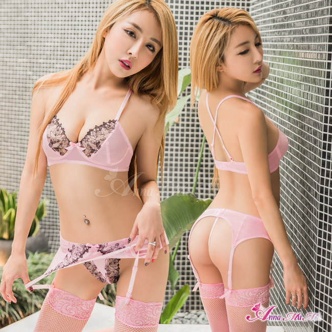 【Anna Mu】吊襪帶 粉紅緹花蕾絲情趣比基尼吊襪帶四件組(NA17030008)