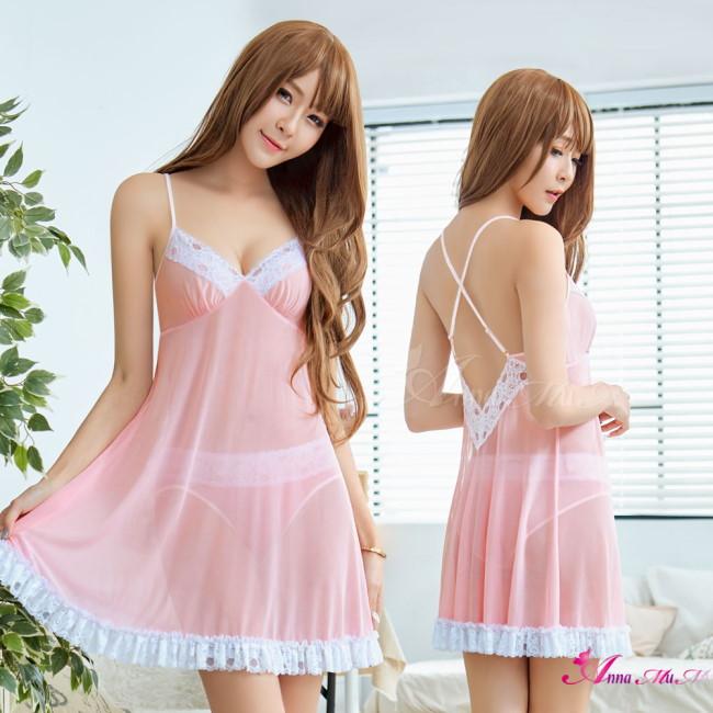 【Anna Mu】性感睡衣 粉紅柔紗V領二件式性感睡衣(NA19020020)