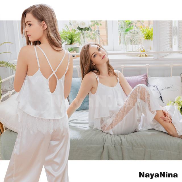 【Naya Nina】白色緞面蕾絲美背居家長褲組(NA19100105)