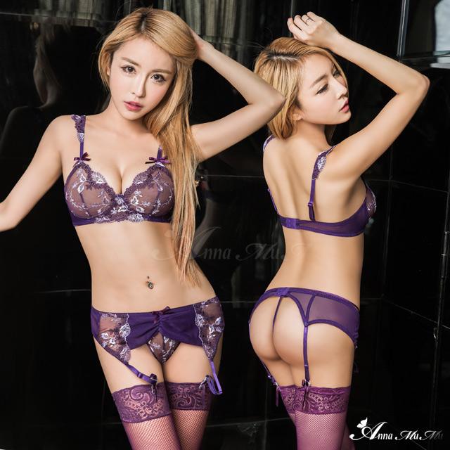 【Anna Mu】吊襪帶 魅紫緹花刺繡網紗情趣比基尼吊襪帶四件組(NA17030011)