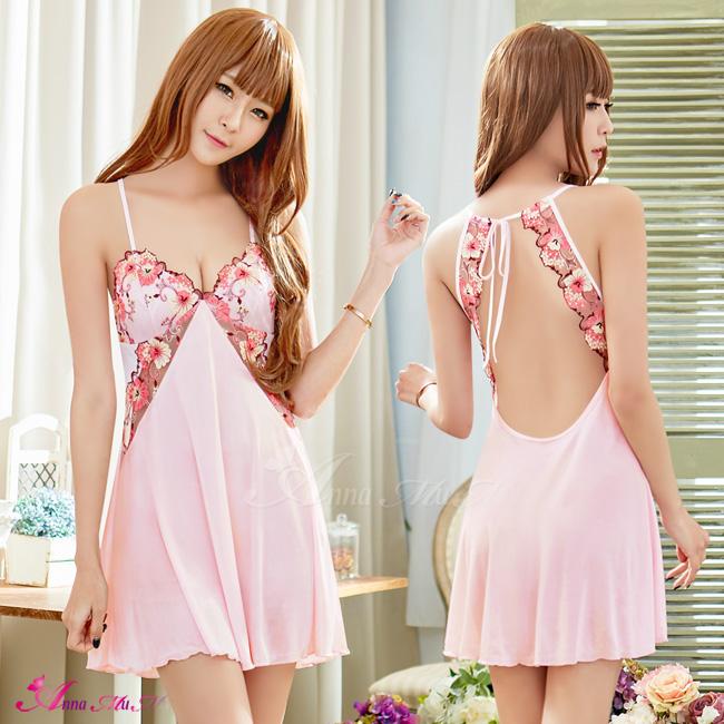 【Anna Mu】性感睡衣 粉紅柔緞綁帶美背性感睡衣(NA19020068)