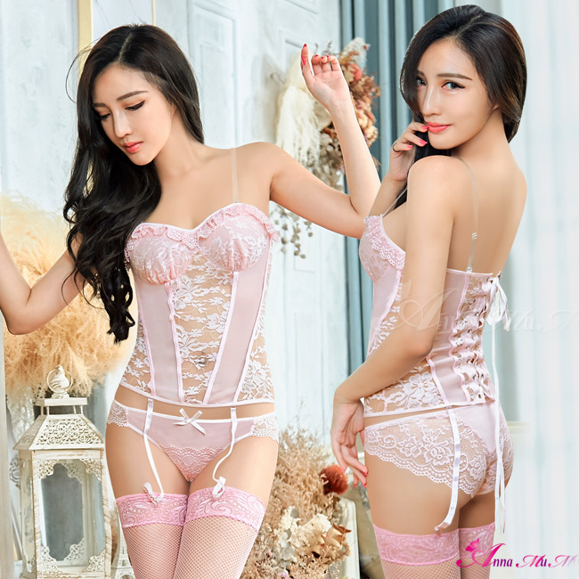 【Anna Mu】性感馬甲 淺粉緹花蕾絲綁帶馬甲吊襪帶五件式組(NA17030059)