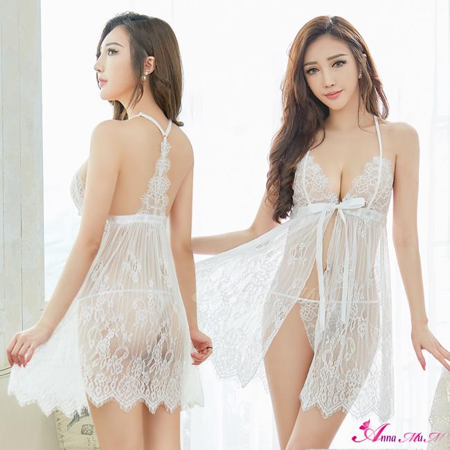 【Anna Mu】性感睡衣 雪白蕾絲薄紗美背開襟二件式連身睡裙(NA19020025)