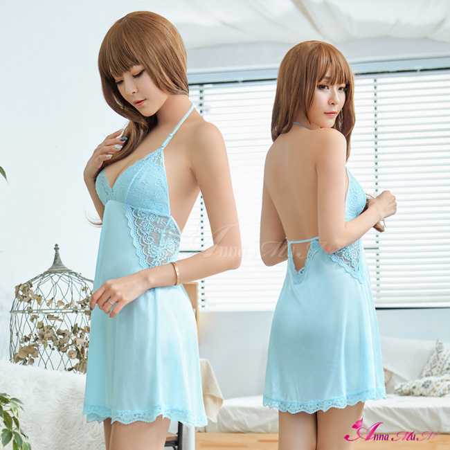 【Anna Mu】性感睡衣 水藍繞脖深V美背柔緞性感睡衣(NA19020032)