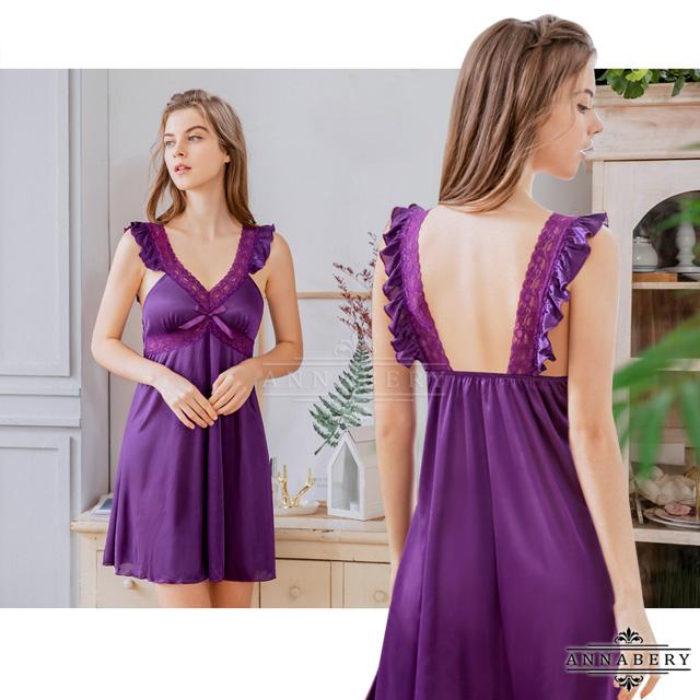 【ANNABERY】大尺碼 浪漫紫荷葉蕾絲柔緞連身性感睡衣裙(NY16020025)