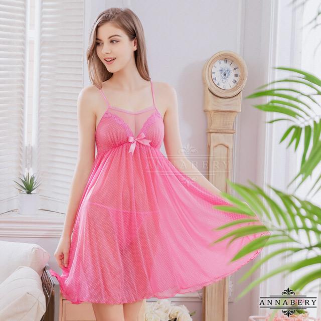 【ANNABERY】大尺碼 普普點點風小粉紅薄紗二件式性感睡衣裙(NY16020031)