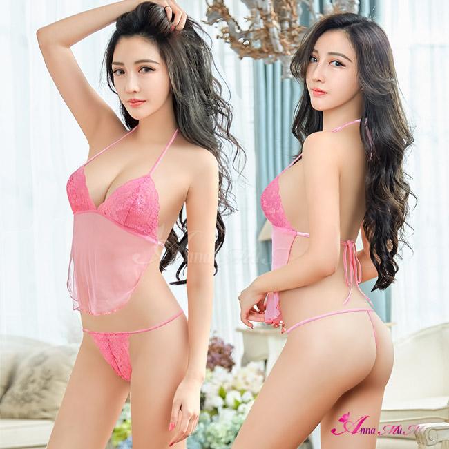 【Anna Mu】粉紅透視薄紗綁帶美背式情趣比基尼二件組(NA12030170)