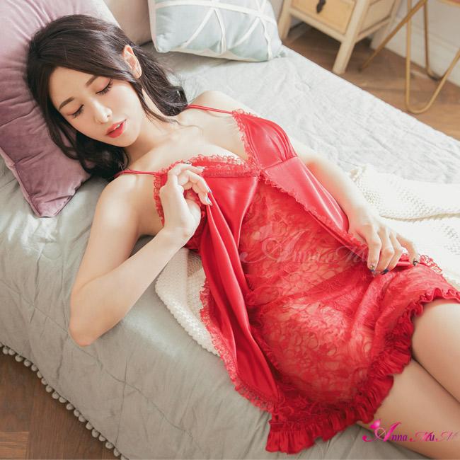 【Anna Mu】性感睡衣 熟女紅假兩件蕾絲緞面丁字褲睡衣(NA09020006-5)
