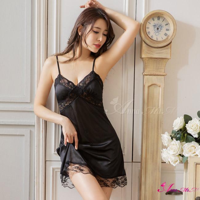 【Anna Mu】性感睡衣 優雅簡約日系黑緞面細肩蕾絲睡衣(NA09020150)