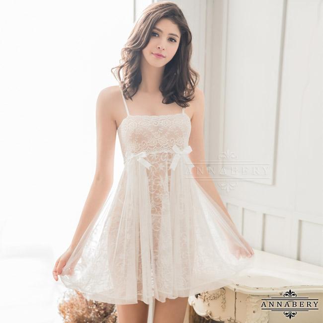 【ANNABERY】大尺碼 純白浪漫緹花蕾絲二件式睡衣(NY14020055)