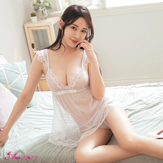 【Anna Mu】性感睡衣 純真透視薄紗蕾絲小蓋袖二件式丁字褲睡裙(NA11020013)