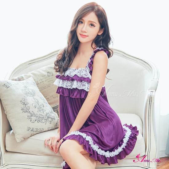 【Anna Mu】性感睡衣 優雅紫緞面白蕾絲交叉美背荷葉肩睡衣(NA16020008)