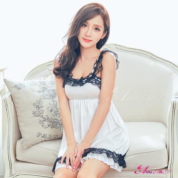 【Anna Mu】性感睡衣 甜美純白黑蕾絲拼接緞面睡衣(NA13020011)