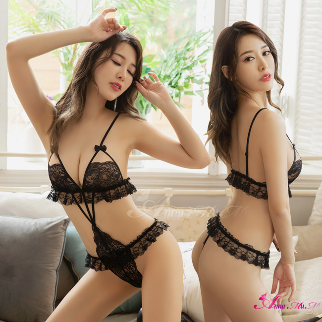 【Anna Mu】性感睡衣 深V極致誘惑魅黑蕾絲情趣連身衣(NA20030010)