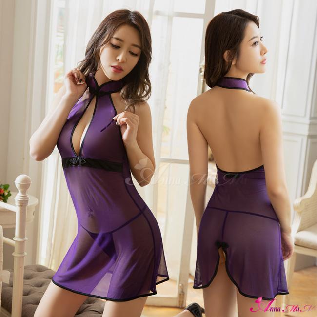 【Anna Mu】迷情紫薄紗透視繞脖美背二件式改良式旗袍丁字褲角色服(NA20030005)