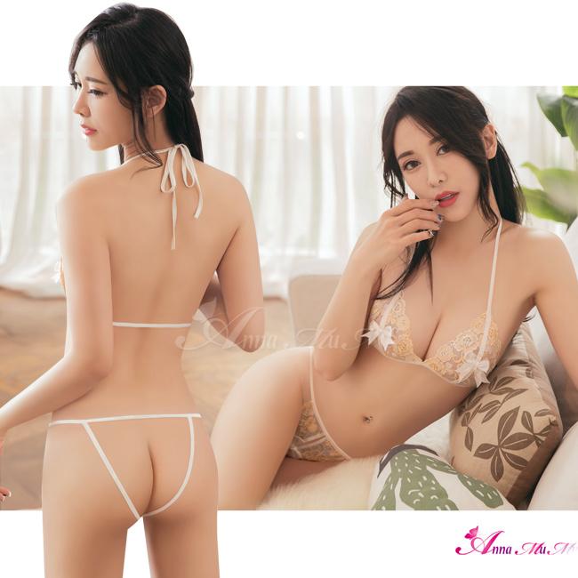 【Anna Mu】情趣內衣 極致誘惑花漾刺繡二件式綁脖性比基尼開襠丁字褲睡衣(NA15030025)