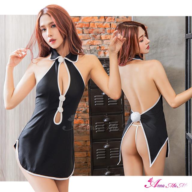 【Anna Mu】角色扮演 絕美誘惑黑翻領裸背露臀二件式改良式旗袍角色服(NA20030031)