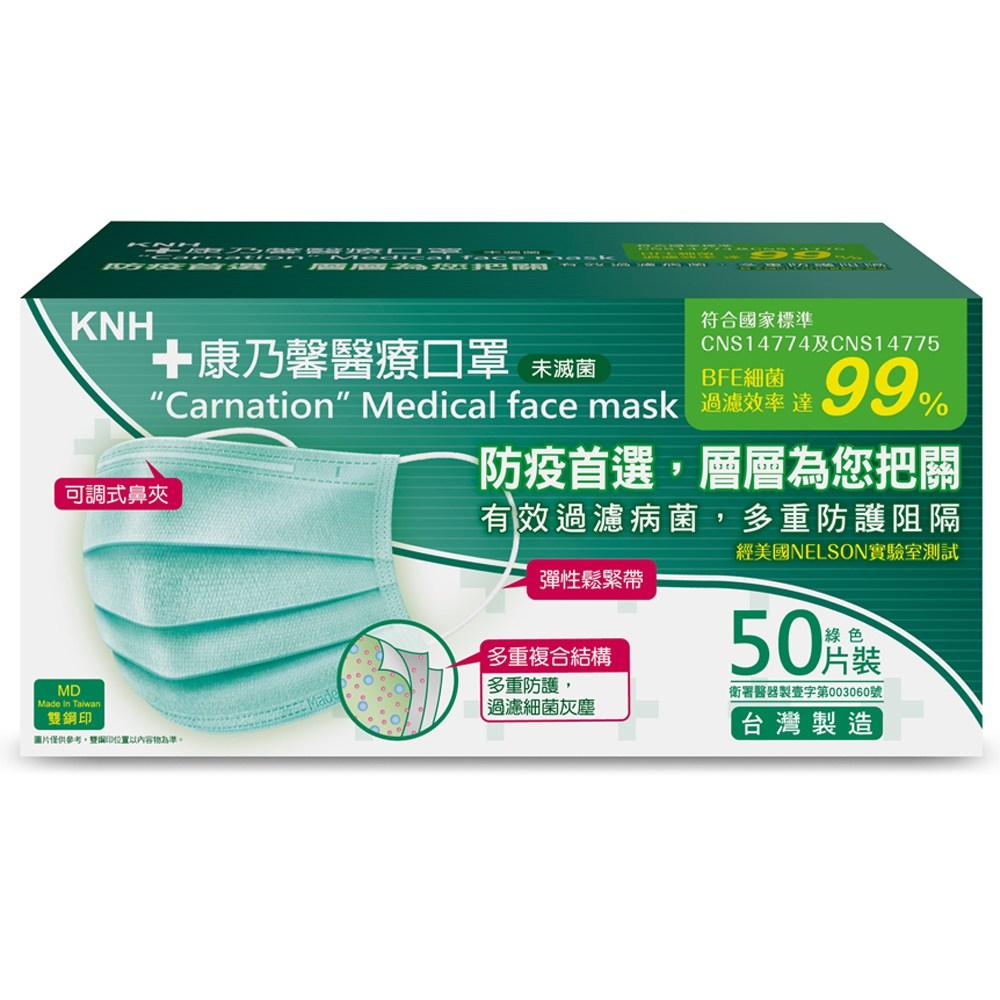 【台灣製造雙鋼印】康乃馨醫療口罩(綠色) 50片/盒裝