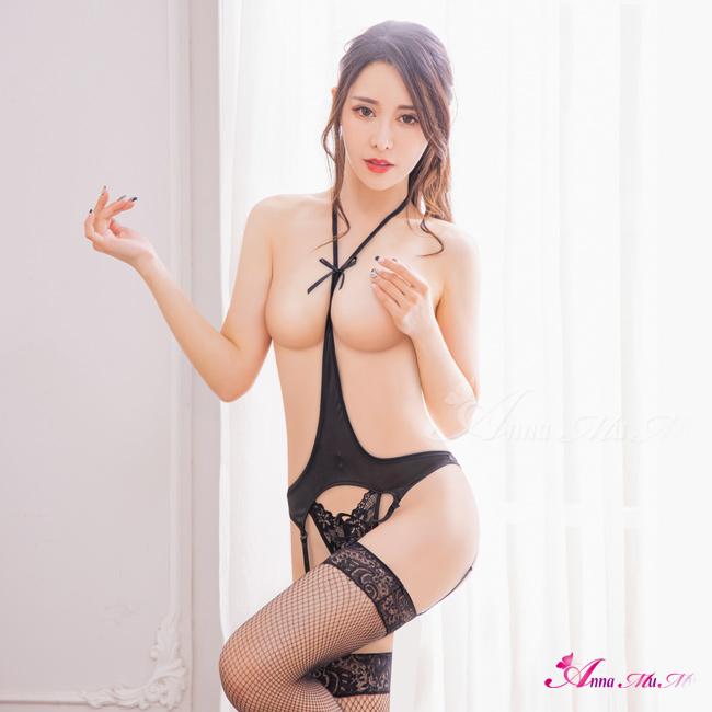 【Anna Mu】情趣睡衣 極致誘惑黑露咪咪連身衣吊襪帶網襪三件式睡衣(NA14030026)