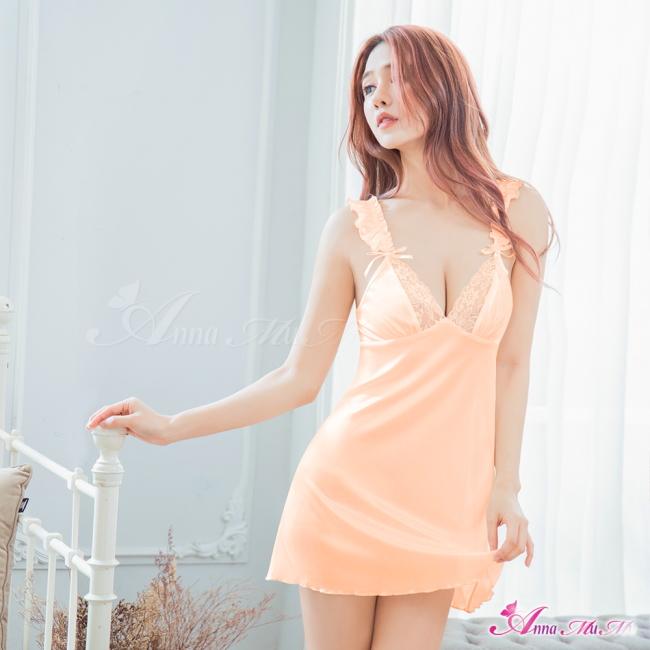 【Anna Mu】性感睡衣 甜美浪漫橘蕾絲緞面荷葉肩帶連身睡衣(NA09020035)